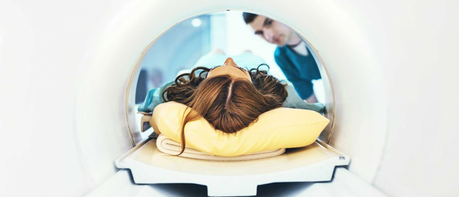 A patient entering a MRI scan.